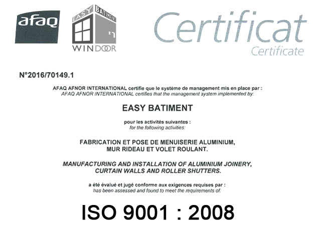 Easy Windoor : Certificat ISO 9001 - 2008